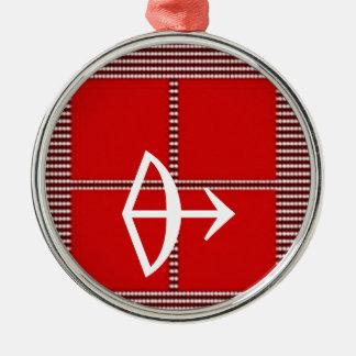 ZODIAC Arrow Sagittarius Astrology Silver-Colored Round Decoration