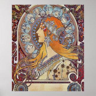Zodiac by Alphonse Mucha Poster