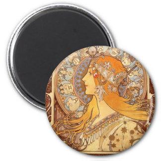 Zodiac by Mucha 6 Cm Round Magnet
