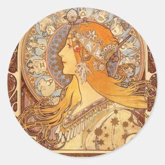 Zodiac by Mucha Classic Round Sticker
