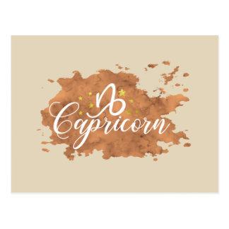 Zodiac Capricorn Brown Watercolor Gold Stars Postcard