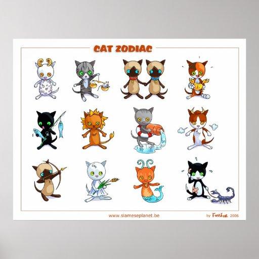 Zodiac Cats Poster