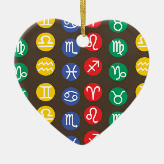 Zodiac Element Symbol Ceramic Heart Decoration