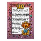 Zodiac - Leo Fun Facts Card