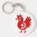 ZODIAC PAPERCUT ROOSTER ILLUSTRATION BASIC ROUND BUTTON KEY RING