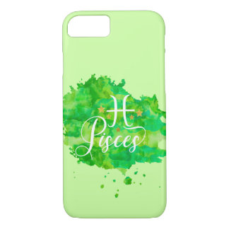 Zodiac Pisces Green Watercolor Gold Stars iPhone 8/7 Case