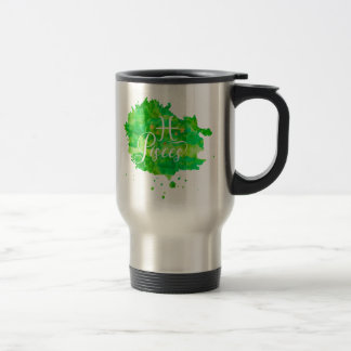 Zodiac Pisces Green Watercolor Gold Stars Travel Mug