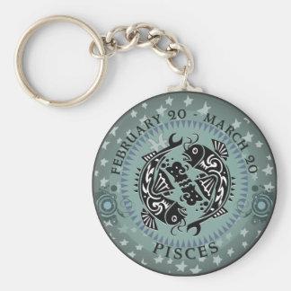 Zodiac Pisces Basic Round Button Key Ring