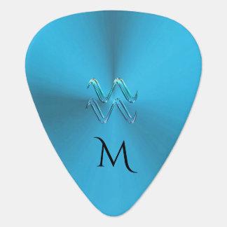 Zodiac Sign Aquarius Colorful Monogram Guitar Pick