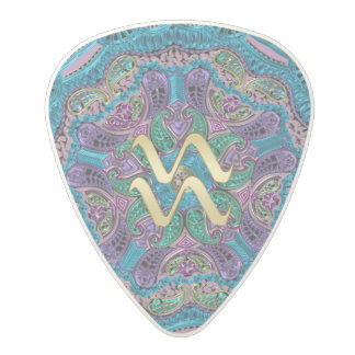 Zodiac Sign Aquarius Mandala Polycarbonate Guitar Pick