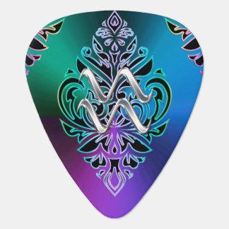 Zodiac Sign Aquarius Tribal Pattern Guitar Pick