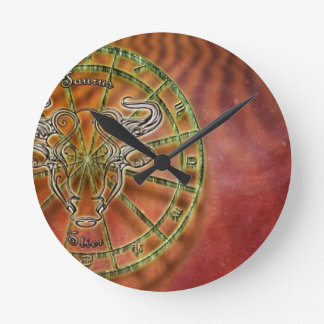 zodiac sign bull- round clock