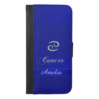 Zodiac Sign Cancer Blue Leather Look iPhone 6/6s Plus Wallet Case