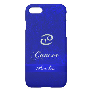 Zodiac Sign Cancer Blue Leather Look iPhone 7 Case
