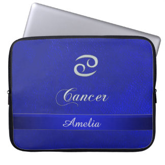 Zodiac Sign Cancer Blue Leather Look Laptop Sleeve