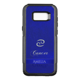 Zodiac Sign Cancer Blue Leather Look OtterBox Commuter Samsung Galaxy S8+ Case