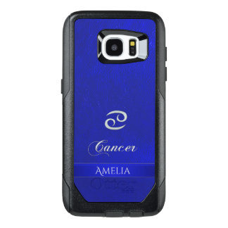 Zodiac Sign Cancer Blue Leather Look OtterBox Samsung Galaxy S7 Edge Case