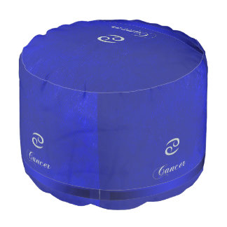 Zodiac Sign Cancer Blue Leather Look Pouf