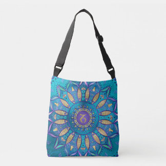 Zodiac Sign Capricorn Turquoise Mandala Tote Bag