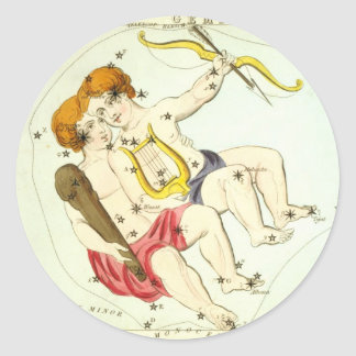 Zodiac Sign: Gemini Classic Round Sticker