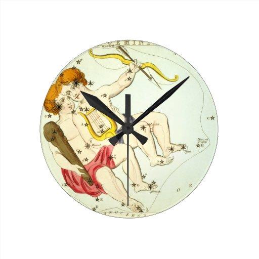 Zodiac Sign: Gemini Round Wall Clocks