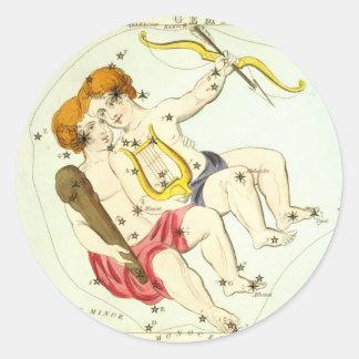 Zodiac Sign: Gemini Round Sticker