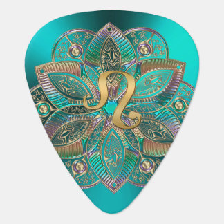 Zodiac Sign Leo Metallic Mandala Guitar Pick