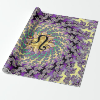 Zodiac Sign Leo Sun Mandala Wrapping Paper