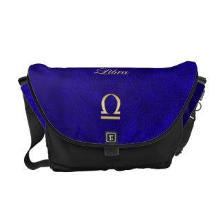 Zodiac Sign Libra Blue Leather Look Commuter Bag