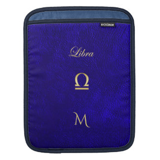 Zodiac Sign Libra Blue Leather Look iPad Sleeve