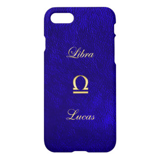 Zodiac Sign Libra Blue Leather Look iPhone 7 Case