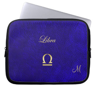 Zodiac Sign Libra Blue Leather Look Laptop Computer Sleeve
