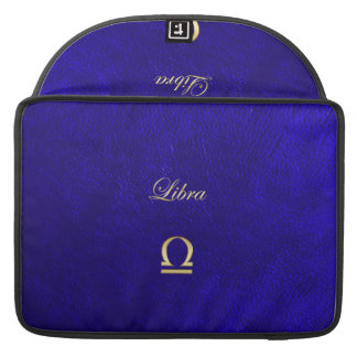 Zodiac Sign Libra Blue Leather Look MacBook Pro Sleeves