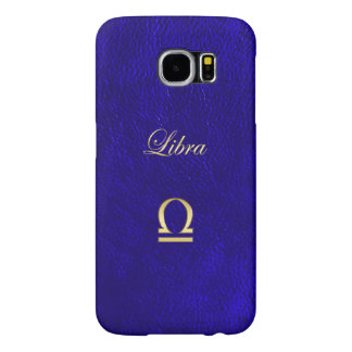 Zodiac Sign Libra Blue Leather Look Samsung Galaxy S6 Cases