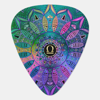 Zodiac Sign Libra Lotus Metallic Mandala Plectrum