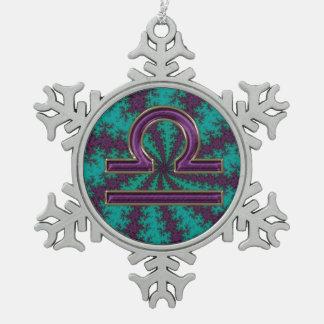 Zodiac Sign Libra Star Fractal Snowflake Ornament