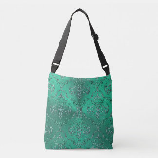 Zodiac Sign Pisces Metallic Green Damask Bag