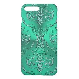 Zodiac Sign Pisces Metallic Green Damask iPhone 7 Plus Case