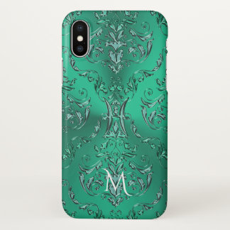 Zodiac Sign Pisces Metallic Green Damask iPhone X Case