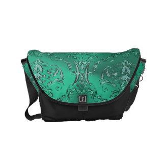 Zodiac Sign Pisces Metallic Green Damask Messenger Commuter Bags