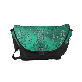 Zodiac Sign Pisces Metallic Green Damask Messenger Courier Bag