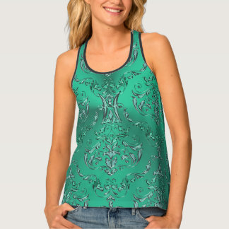 Zodiac Sign Pisces Metallic Green Damask Singlet