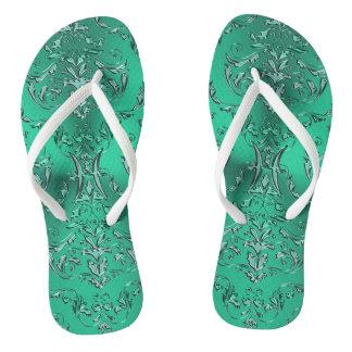 Zodiac Sign Pisces Metallic Green Damask Thongs