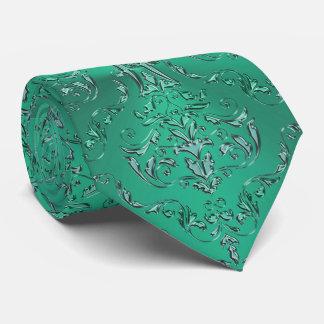 Zodiac Sign Pisces Metallic Green Damask Tie