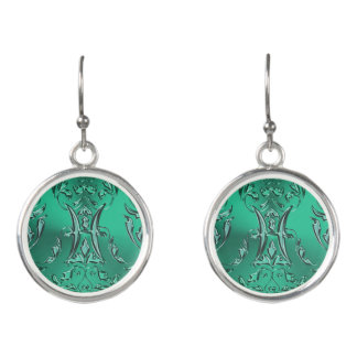 Zodiac Sign Pisces Metallic Teal Green Damask Earrings