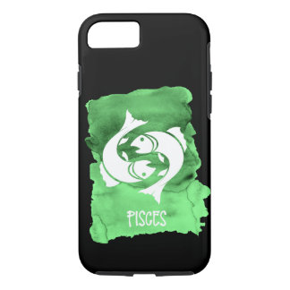 Zodiac Sign Pisces the Fish on Green Watercolor iPhone 8/7 Case