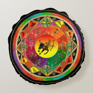 Zodiac Sign Sagittarius Mandala Round Cushion
