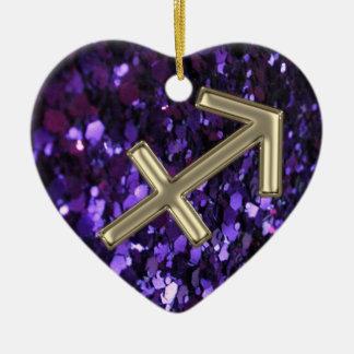 Zodiac Sign Sagittarius on Purple Glitter Ornament
