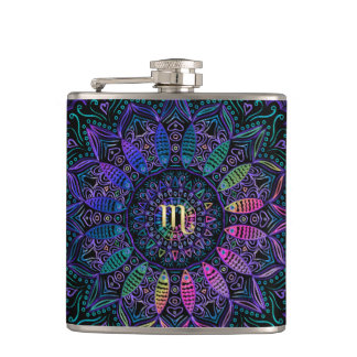 Zodiac Sign Scorpio Mandala Hip Flask