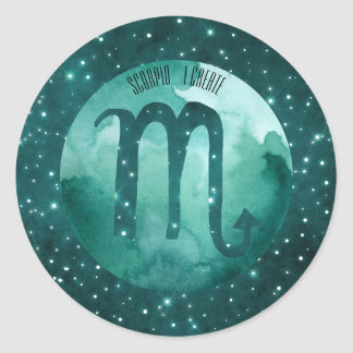 Zodiac Sign Scorpio on Starry Teal Sky Round Sticker